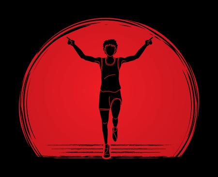 Athlete runner, A man prepare start running action designed on sunlight background graphic vector  イラスト・ベクター素材