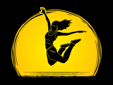 B Boy Dance action designed on moonlight background graphic vector.