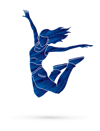 B Boy Dance action designed using blue grunge brush graphic vector.