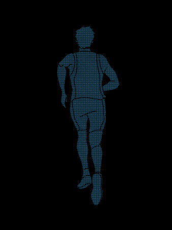 Athlete runner back view designed using dots pixels graphic vector Illustration