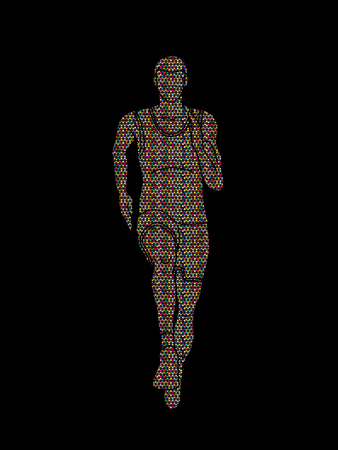 Athlete runner front view designed using mosaic pattern graphic vector Illustration