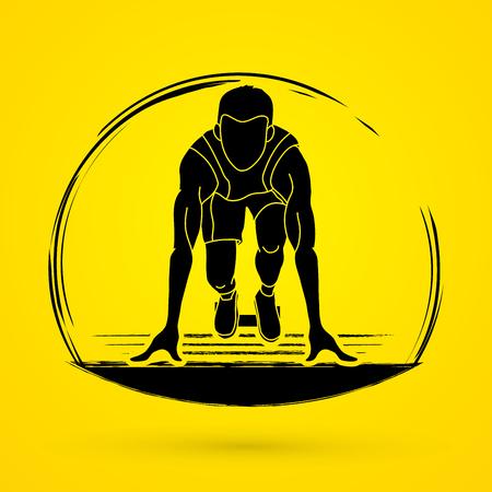 Ready to run, Athlete runner shape graphic vector Illustration