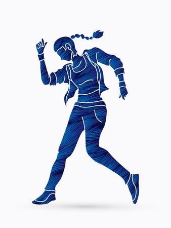 Street Dance, Dancer action designed using grunge brush graphic vector