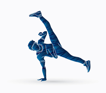 Street Dance, Dancer action designed using grunge brush graphic vector