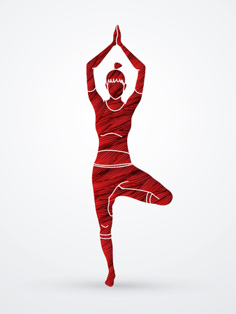 Woman practicing yoga, Yoga action designed using grunge brush graphic vector. Illustration