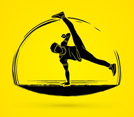 Street Dance, Dancer action graphic vector