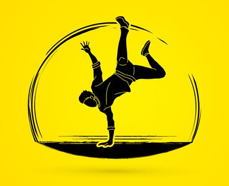 Dancing action, dancer training graphic vector. Ilustracja