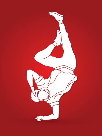 Man breakdancing vector illustration. Ilustração