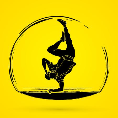 Man breakdancing vector illustration.