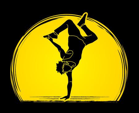 Dancing action, dancer training designed on moonlight background graphic vector. 向量圖像