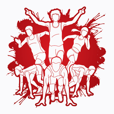 Group of Marathon runner, People running front view designed on splatter ink background graphic vector 일러스트