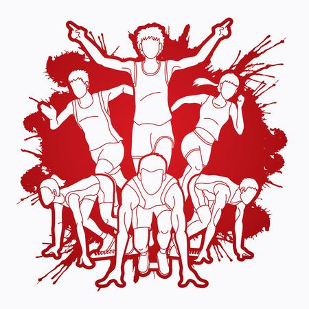 Group of Marathon runner, People running front view designed on splatter ink background graphic vector Illustration