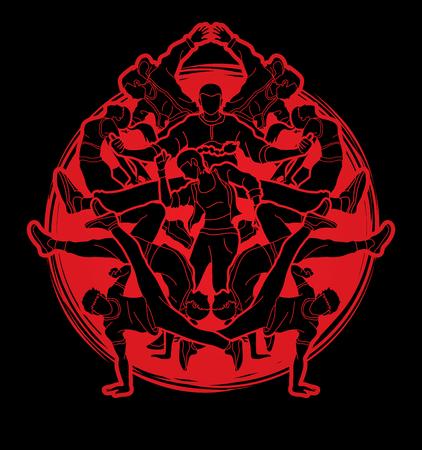 Group of people dancing, Dancer action, Street dance team, Hip hop or B boy dance designed on sunlight background graphic vector