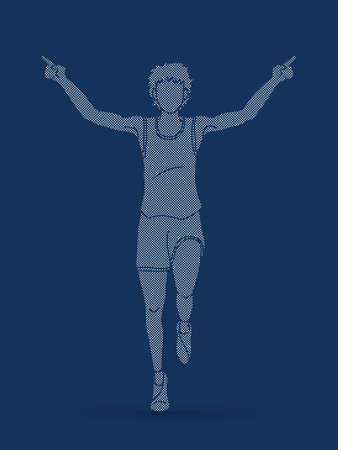 Runners sprinting, Marathon running designed using pixels graphic vector