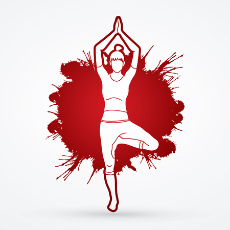 Yoga Class, A woman practice yoga designed on splatter blood background  graphic vector.