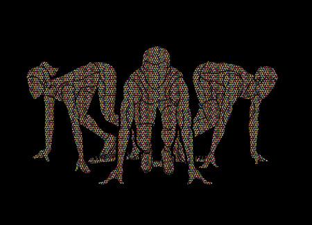 Marathon runner, Start running , Group of people running action designed using mosaic pattern graphic vector