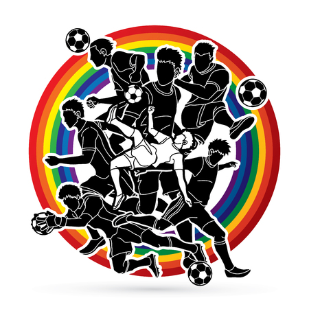 Soccer team composition, soccer player action designed on rainbows background graphic vector