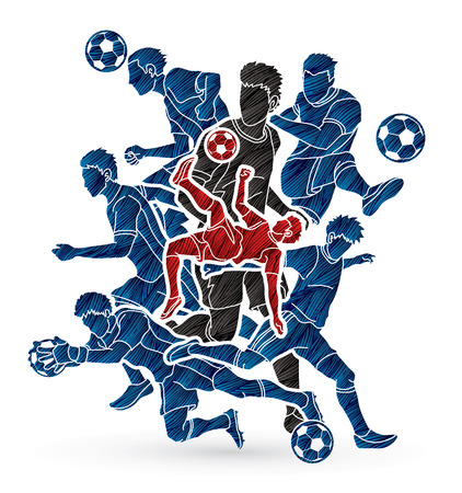 Soccer team composition, soccer player action designed using grunge brush graphic.