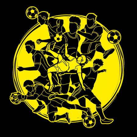 Soccer team composition, soccer player action designed on moonlight background graphic.