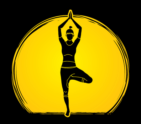 Yoga pose designed on moonlight background graphic vector.