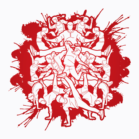Group of people dancing, Street dance action, Dance together designed on splatter blood graphic vector