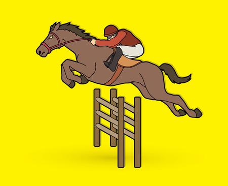 Equitazione, cavallo da corsa, fantino equestre grafica vettoriale.