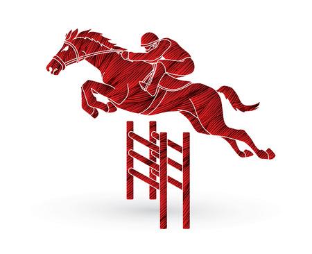 Riding Horse Race Jockey Equestrian Designed Using Grunge Brush Graphic Vector
