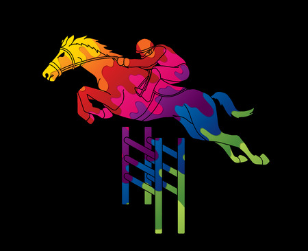 Riding Horse Race Jockey Equestrian Designed Using Colorful Graphic Vector Illustration