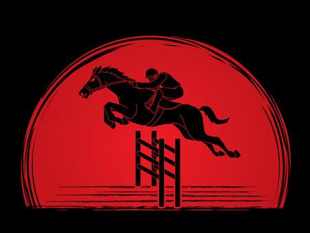 Equitazione, cavallo da corsa, fantino equestre progettato su sfondo di luce solare grafica vettoriale.