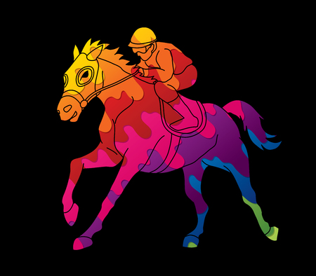 Riding horse, Race horse, Jockey Equestrian designed using colorful graphic vector.. Illustration