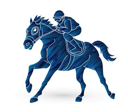 Riding horse, Race horse, Jockey Equestrian designed using grunge brush graphic vector.