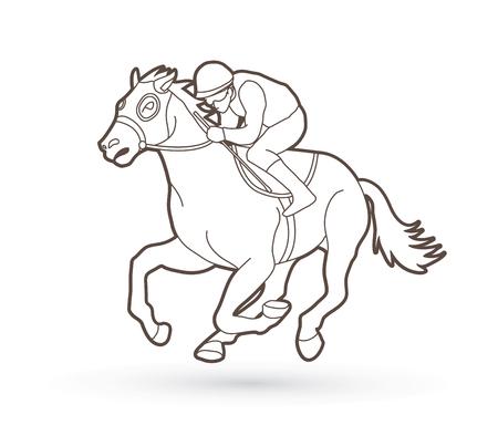 Horse racing ,Jockey riding horse outline graphic vector.