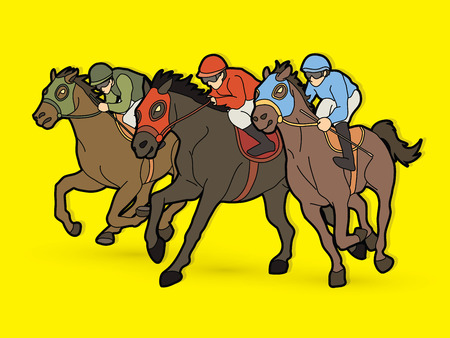 Horse racing ,Jockey riding horse, graphic vector.