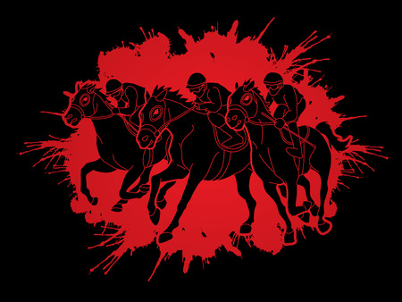 Horse racing ,Jockey riding horse, designed on splatter ink graphic vector.