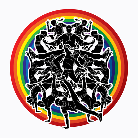 Group of people dancing, Street dance action, Dance together designed on line rainbows background graphic vector
