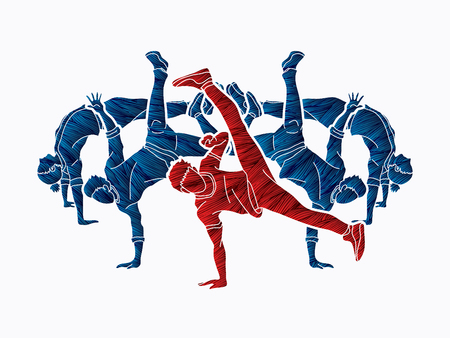 Group of people dancing, Street dance action, Dance together designed using grunge brush graphic vector