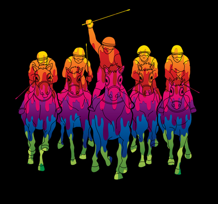 Jockey riding horse, design using colorful graphic vector.