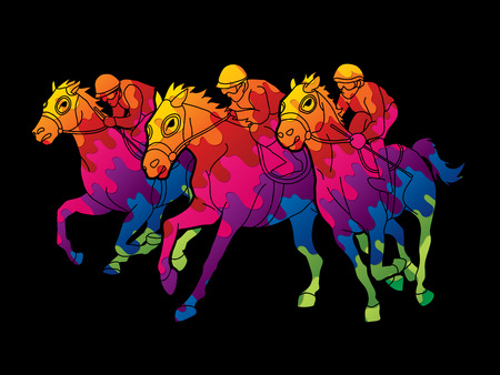 Horse racing ,Jockey riding horse, design using colorful graphic vector.