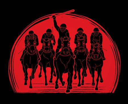 Jockey riding horse, design on sunlight background graphic vector.