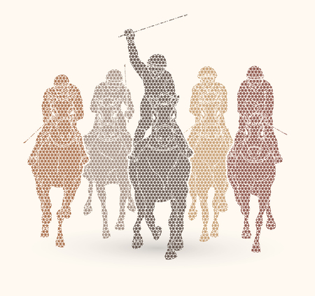 Horse racing ,Jockey riding horse, design using geometric pattern graphic vector. Illustration