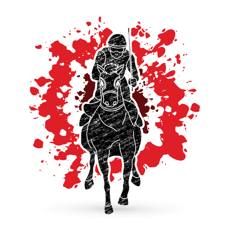 Horse racing ,Jockey riding horse, design on splatter blood background graphic vector.