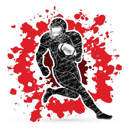 American football player, Sportsman action, sport concept designed on splatter blood background graphic vector.
