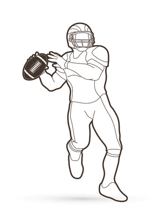 American football player, Sportsman action, sport concept outline graphic vector. Vettoriali