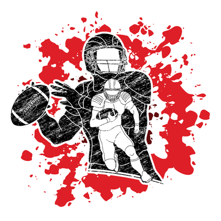 American Football player action, sport concept designed on splatter blood background graphic vector.