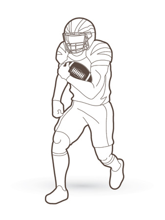 American Football player action, sport concept outline graphic vector.