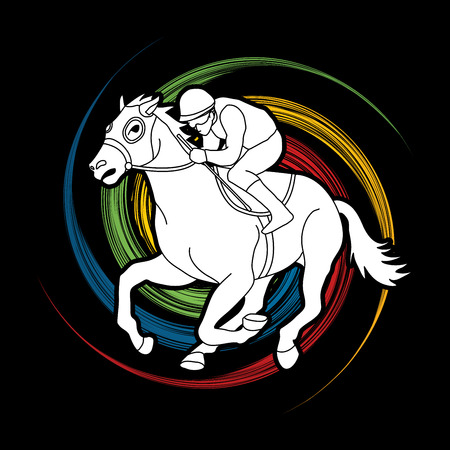 Horse racing ,Horse with jockey designed on spin wheel background  graphic vector. 矢量图像