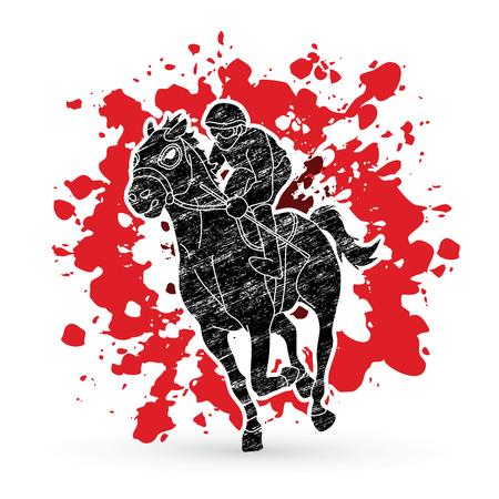 Horse racing ,Horse with jockey designed on splatter ink graphic vector. Illustration