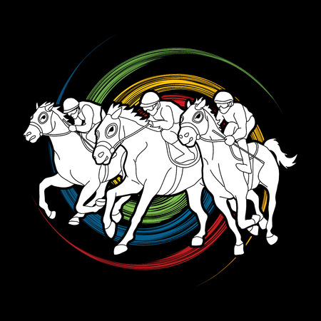 Horse racing ,Horse with jockey designed on spin wheel background  graphic vector. Иллюстрация