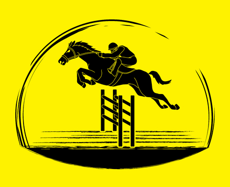 Horse racing ,Horse with jockey, graphic vector. Illustration