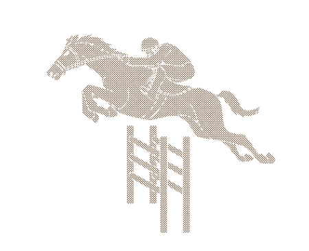 Horse racing ,Horse with jockey designed using dots pixels graphic vector.